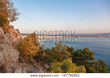 View of Loutraki town from mountain Corinthia, Greece.