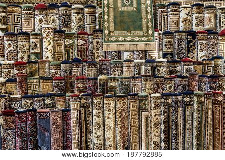 Pattern or background made by many different carpets