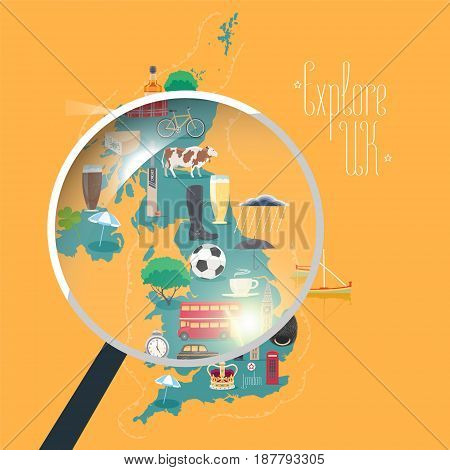 Map of UK Great Britain United Kingdom vector illustration design element. Icons with British landmarks travel places of interests. Explore Britain concept image with magnifier