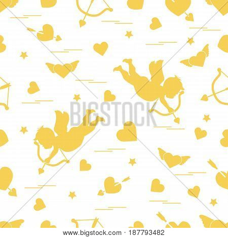 Cute Seamless Pattern With Cupid Shoots A Bow And Hearts. Love Symbol.