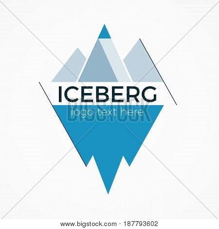 Iceberg vector logo or icon concept. Flat design illustration with text block. Minimalistic brand sign. Isolated on white background.