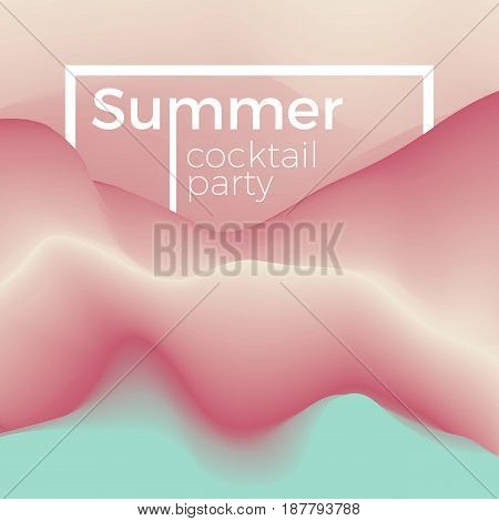 Summer party flyer background concept. Illustration of cocktail waves in chilly colors. Stylish invitation template.