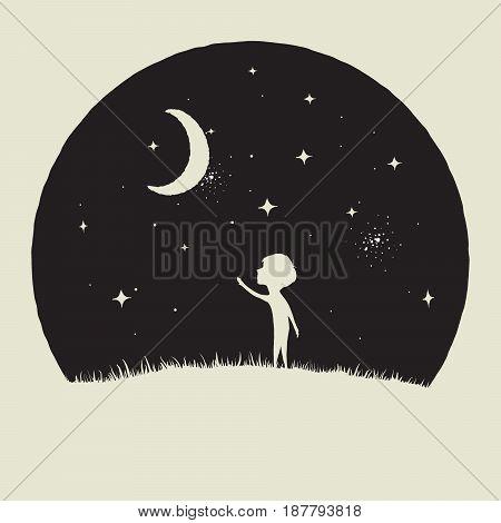 Little kid boy looks to crescent Moon.Childish vector illustration.Prints design