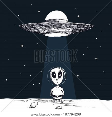 The arrival of an alien from flying saucer to a new planet.Hand drawn vector illustration