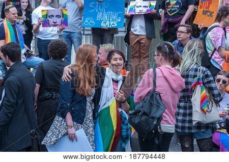 Adelaide, SA, Australia - May 20, 2017: South Australians gather at the centre of Adelaide at an Amnesty International rally to protest human rights abuses in Chechnya.