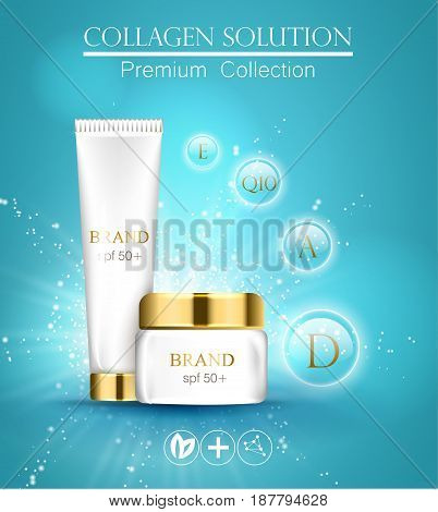 Essense And A Cream For Skin Care Template. 3D Vector Realistic Illustration. Collagen Solution . Th