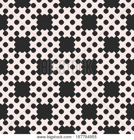 Vector dotted seamless pattern, repeat monochrome texture with simple, geometric, figures, circles, crosses, smooth, shapes. Endless abstract background. Design element for decor, prints, furniture, web