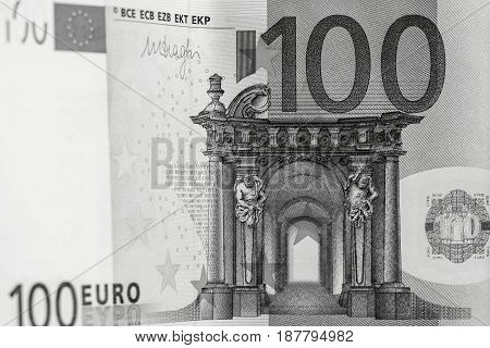 abstract banknote fragment hundred euros for financial background or for wallpaper of monochrome tone