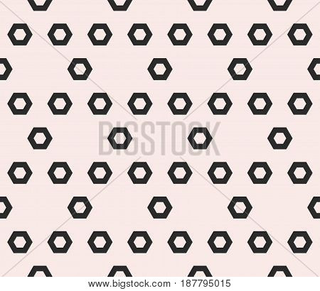 Hexagon texture, vector monochrome seamless pattern with perforated hex shapes in hexagonal grid. Abstract geometric background. Symmetric repeat design element for prints, embossing, textile, cloth