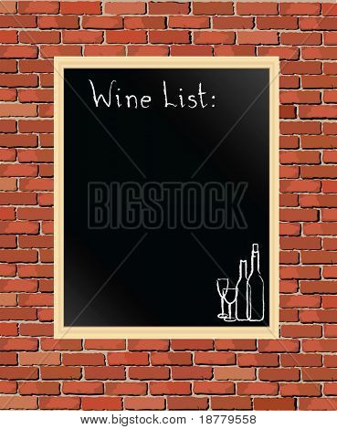 An illustration of a 'Wine List' chalkboard against a brick wall. Also available as a vector in my portfolio.