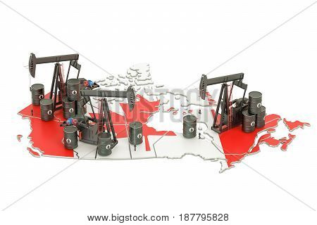 Canadian map with oil barrels and pumpjacks. Oil production concept. 3D rendering