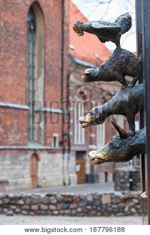 RIGA LATVIA - MAY 06 2017: View on the monument of Bremen Town Musicians is situated in the Riga Latvia.