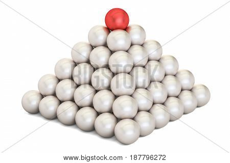 Pyramid of metal balls isolated on white background