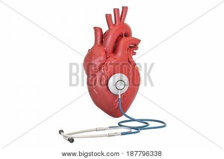 Stethoscope with human heart medical concept. 3D rendering isolated on white background