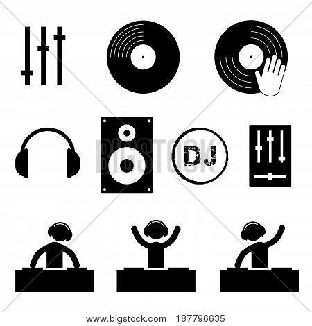 Dj Icon Set In Black Color Illustration