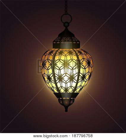 Ramadan Kareem moroccan hanging arabic lantern for greeting card vector