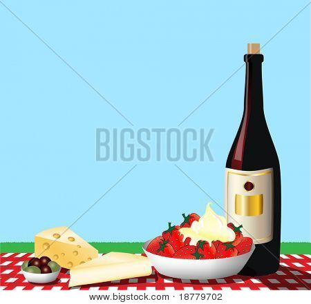 A vector illustration depicting a picnic on a gingham tablecloth. Space for text.