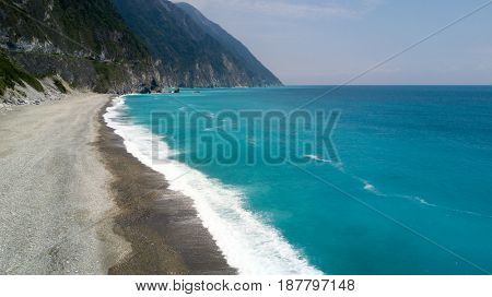 Aerial view of the Ching Shui cliff beach near the Taroko Park, Taiwan