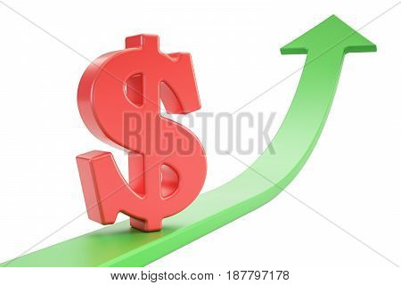Growth green arrow with symbol of dollar 3D rendering