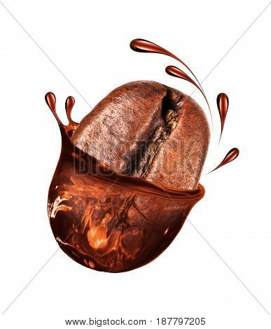 Coffee bean with a coffee splash isolated on white background