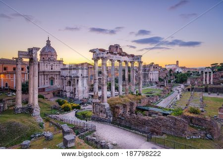 Scenic View Of Roman Forum Before Sunrise, Rome