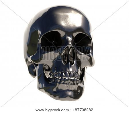 3d render: Black Human Skull Isolated on White Background