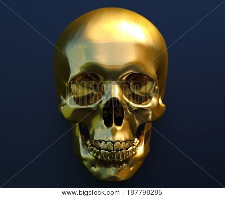 3d render: Gold Human Skull Isolated on Dark Background