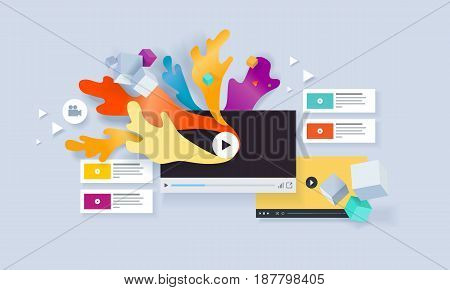 Creative concept banner. Vector illustration for video marketing, social media, entertainment, video tutorials and training, apps, online advertising and presentation.