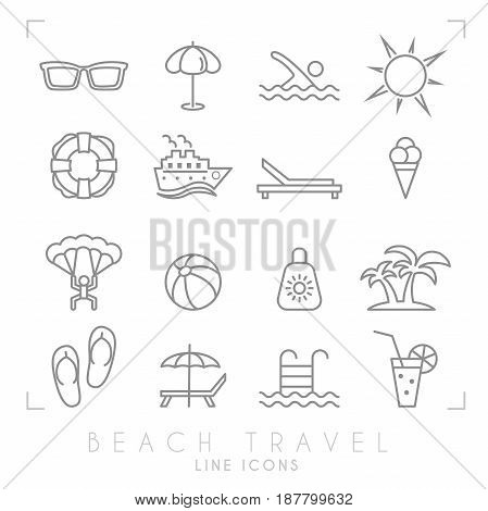 Outline thin travel and vacation icons set. Sunglasses umbrella swim sun lifebuoy ship desk chair ice cream air sports ball sun cream palms flip flops pool bar and cocktail.