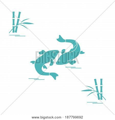 Stylized Icon Of Two Carp Koi  And Bamboo. Travel And Leisure.