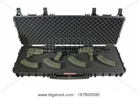 Weapon in a plastic black case with foam rubber