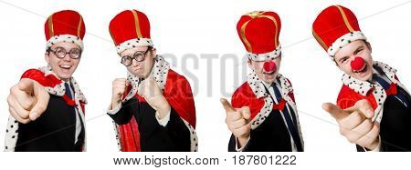 Man pointing his fingers isolated on white
