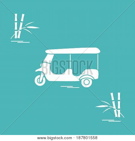 Stylized Icon Of Tuk-tuk And Bamboo. Traditional Taxi In Thailand, India.