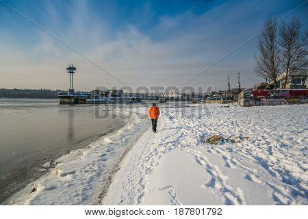Winter Beach In The City Of Zaporozhye