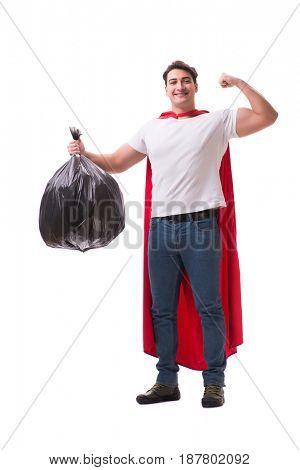 Superhero man with garbage sack isolated on white