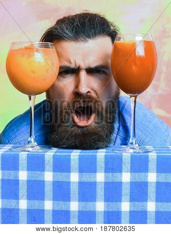 Brutal Caucasian Hipster With Moustache Between Tropical Alcoholic Fresh Cocktails