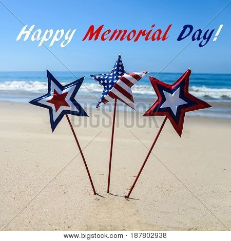 Memorial day background with decoration on the sandy beach square format
