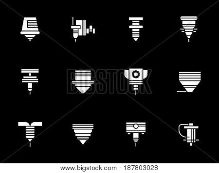 Collection of different robotic laser machines. Industrial automated equipment and technology. Symbolic white glyph style vector icons set on black.