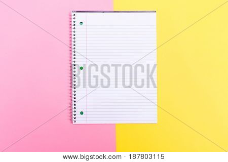 A notebook on the bright duotone background