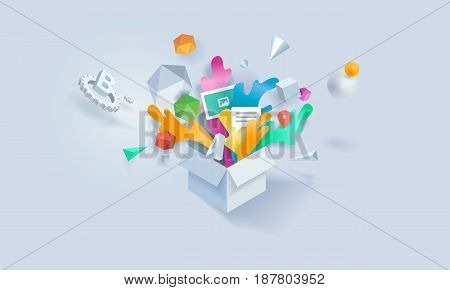 Creative concept banner. Vector illustration for creative process, think outside the box, package of services, apps.