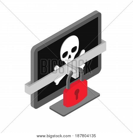 Computer with pirate skull - virus, hacker cyber criminality, malware, ransomware concept vector
