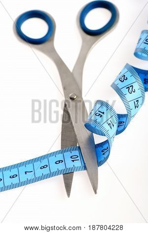 Tape For Measuring In Blue Cut By Metal Scissors