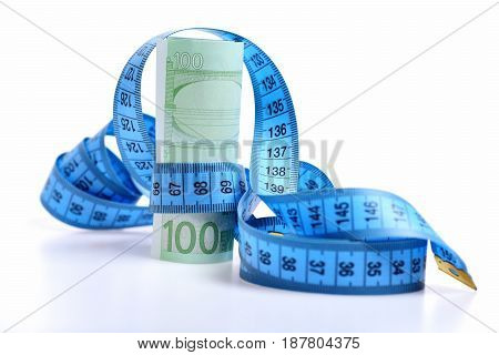 Centimeter With Euro Banknotes Isolated On White