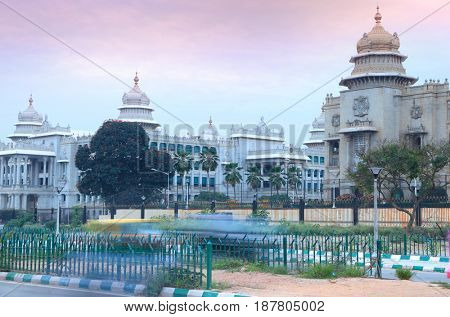 Bangalore legislative assembly in twilight