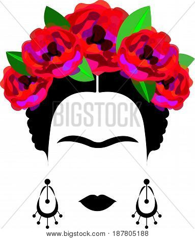 portrait of Mexican or Spanish woman minimalist Frida Kahlo with earrings and red flowers, vector isolated