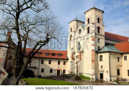 View from the courtyard to the Benedictine monastery in Tyniec