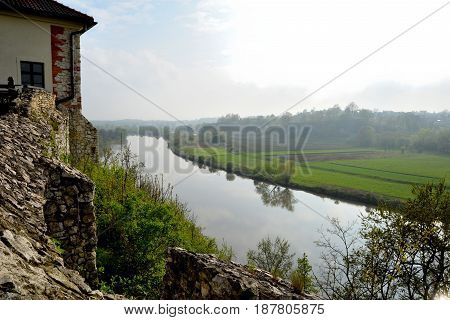 View from the walls of the Benedictine monastery in Tyniec on the river