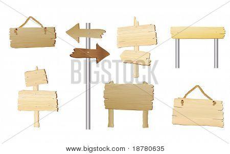 Eine Sammlung von leeren Holz Schilder mit Platz für Text. Auch im Vektorformat verfügbar.