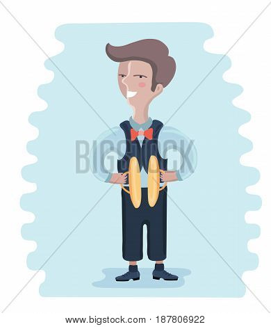 Vector cartoon illustration of little musician: boy playing cymbals