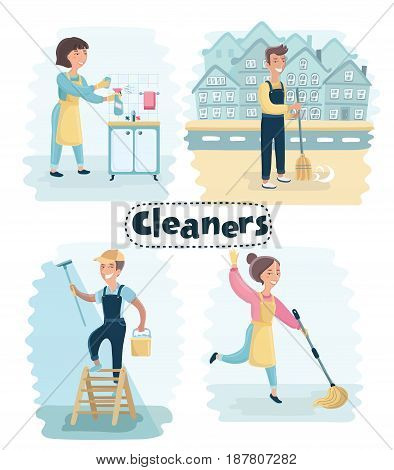 Vector cartoon set of illustration of cleaning services. Janitorial professionals. Pressure washer, floor washer, window cleaner, and claeaner. Men and women